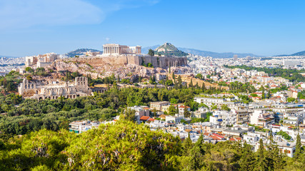 Fototapete - Aerial view of Athens with Acropolis hill, Greece
