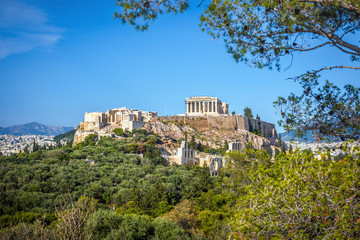 Fototapete - Scenic view of Acropolis hill, Athens, Greece