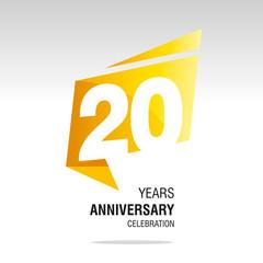 20 Years Anniversary origami speech logo icon yellow white vector