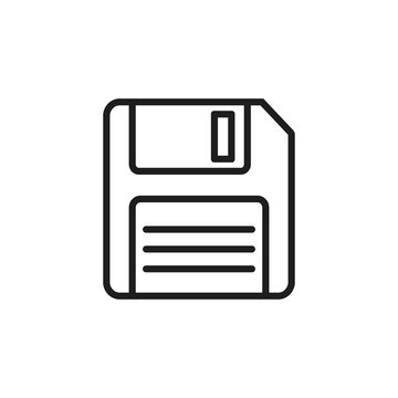 Floppy disk line style icon. Vector illustration.
