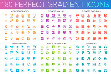 180 vector trendy perfect gradient icons set of business motivation, analysis, business essentials, business project, startup development, e commerce. Fototapete