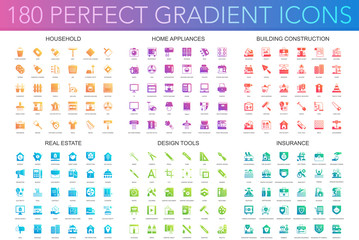 180 vector trendy perfect gradient icons set of 180 modern thin line icons set of household, home appliances, building construction, real estate, design tools, insurance.