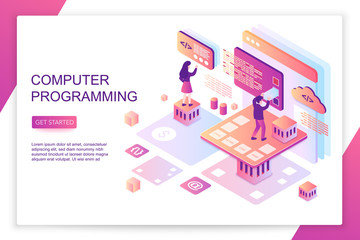 Computer software programming, coding, front end development, modern 3d isometric vector website landing page template. People interacting with virtual screen charts and analyzing statistics.