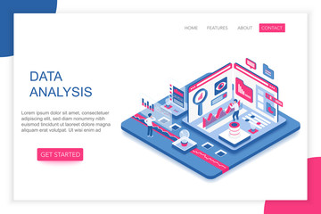 Data Analysis, big data analytics modern 3d isometric vector website landing page template. People interacting with virtual screen charts and analyzing statistics.
