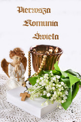 First holy communion composition with christianity symbols and text in polish First holy communion