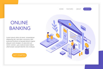 Online Banking, secure payments, bank account 3d isometric landing website page template. People, virtual screen charts with statistics vector illustration.