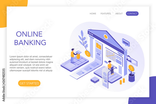 Online Banking, secure payments, bank account 3d isometric landing