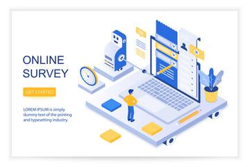 Online survey, checklist of questions, questionnaire, social management concept 3d isometric landing website page template vector illustration.