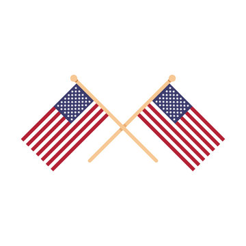 Two crossed American flags. USA, United States of America, US. Crossed flags isolated on white background. Vector illustration