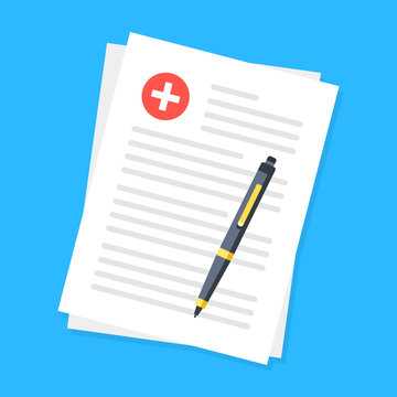 Medical documents and pen. Top view. Modern flat design. Vector illustration