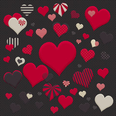 Heart Pattern Illustration in High Resolution on Dark Grey Spotty Background