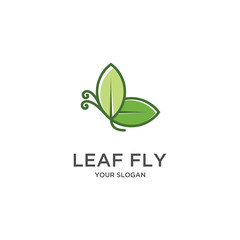 green leaf flaying flat logo