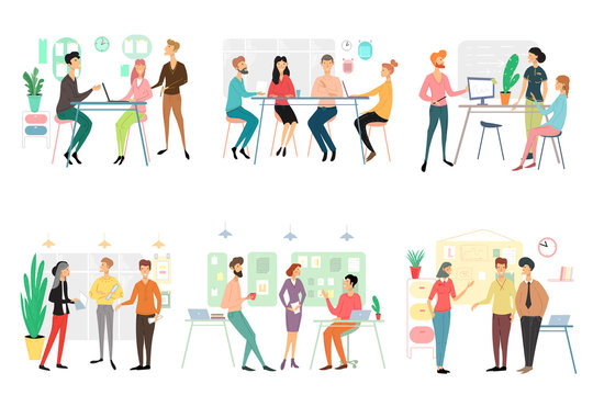 Set of different business people working in office. Brainstorming, talking discussing start up ideas, presenting project, having fun employees isolated on white background. Flat vector illustration.