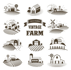 Set of isolated vintage eco farms, landscapes, labels for natural farm products. Farm House concept collection. Retro woodcut style vector illustration.