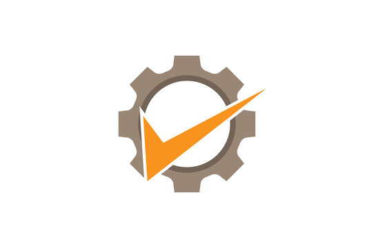 Creative Abstract Gear Orange Check Logo Design Illustration