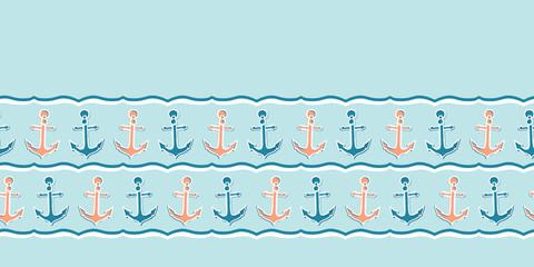 Cute stripe marine anchor seamless vector border pattern. Hand drawn ocean sailing tile. Ribbon trim for seafaring blog, nautical graphic, preppy sailor fashion trim. Maritime home decor textiles edge