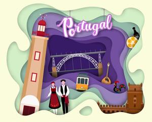 Paper cut design of Tourist Travel Portugal