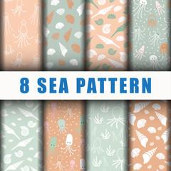 8 Beautiful sea pattern backgroud set