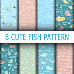 8 Cute Fish pattern background