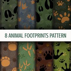 8 Animal Footprints pattern background set collection