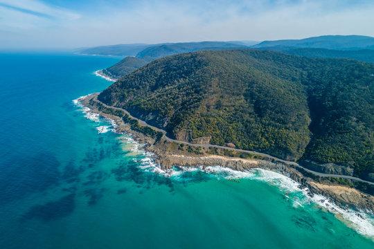 Aerial view of the beautiful Great Ocean Road