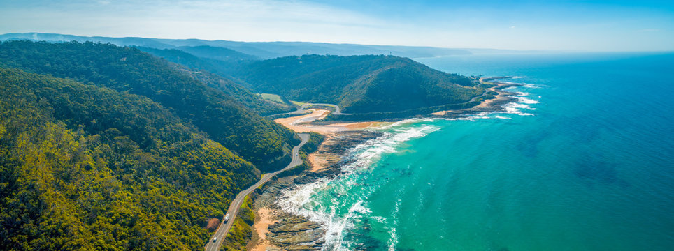 Aerial panorama of Great Ocean Road on bright sunny day