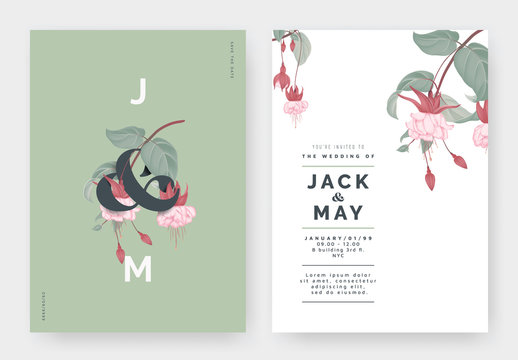 Minimalist botanical wedding invitation card template design, Fuchsia icy pink flowers with lettering on green, pastel vintage theme