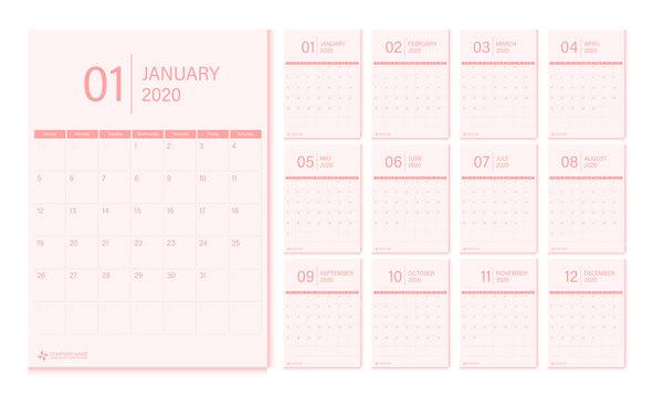 2020 calendar design template vector week start Sunday