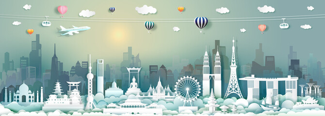 Wall Mural - Vector travel architecture landmarks of Asia with skyscraper and sunrise.