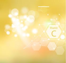 Fototapeta Vitamin C on an abstract background. obraz