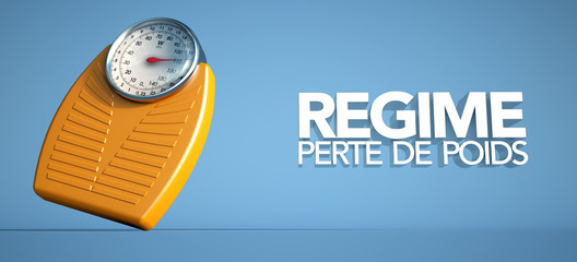 3D rendering of a weight scale the words weight loss diet in French