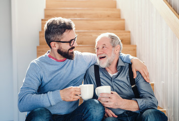 An adult hipster son and senior father sitting on stairs indoors at home, talking. Wall mural
