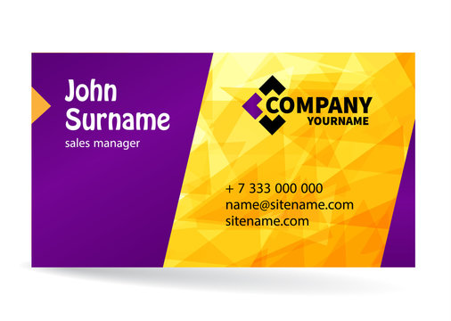 Business card bright design with yellow background of chaotically moving triangles. Modern dynamic background for your company. Vector illustration.