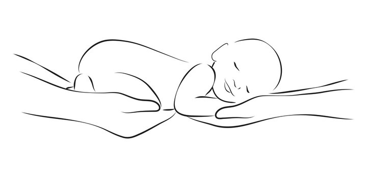 Sleeping baby on the parents hands, stylized line logo. Simple lines vector illustration. Stylized art for logos, signs, icons and design cards, invitations and baby shower
