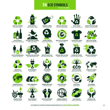collections of eco friendly flat symbols, high detailed icons, graphic design web elements, alternative ecological concept, isolated emblems on clean white background, logotype vector art illustration
