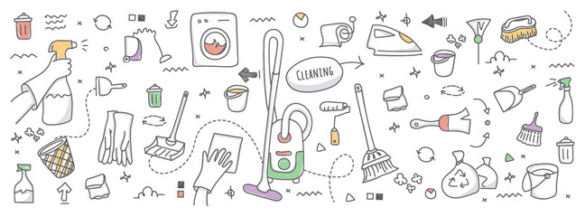 Doodle illustration of cleaning service