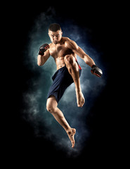 Wall Murals Martial arts MMA male fighter jumping