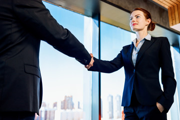 Professional business woman and man in formal suit shaking hands indoors.