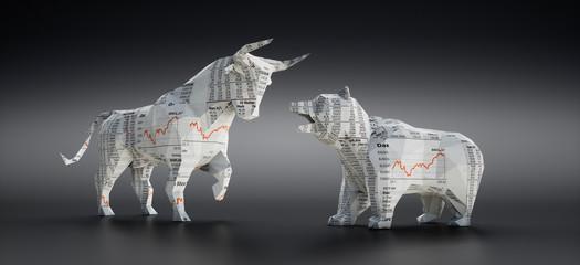 Bulle und Bär aus Börsen-Zeitungspapier vor dunklem Hintergrund