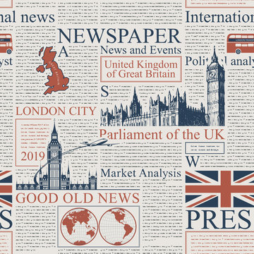 Vector seamless pattern with UK or London newspaper. Page of newspaper or magazine with headings, illustrations and unreadable text. Can be used as wallpaper, wrapping paper or fabric