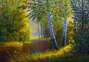 Oil painting landscape, river in the summer forest.
