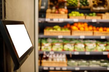 supermarket shopping blur background.