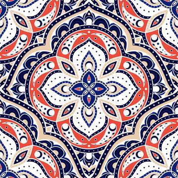 Mandala indian paisley pattern vector seamless. Flower medallion motif print. Boho ethnic ornament for batik. Arabic design for wallpaper, woman scarf, curtain textile, gypsy carpet, blanket.