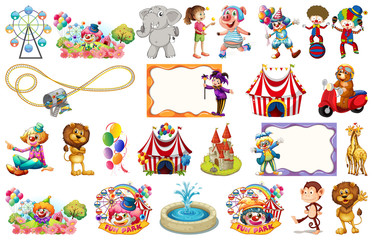 Set of fun fair element