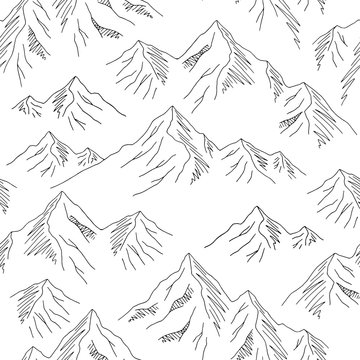 Mountains graphic black white seamless pattern landscape background sketch illustration vector