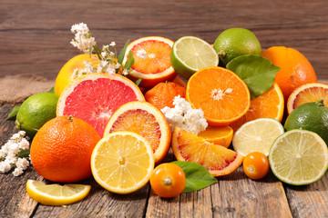 orange fruit, lemon, grapefruit selection