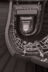 Historic stairs in black and white.