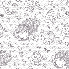 Seamless pattern with mermaids and fishes. Vector background with outlines. Vector