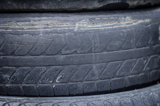 Old, worn car tires