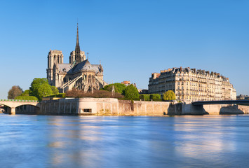 Panoramic image of Notre Dame de Paris in Spring before the fire